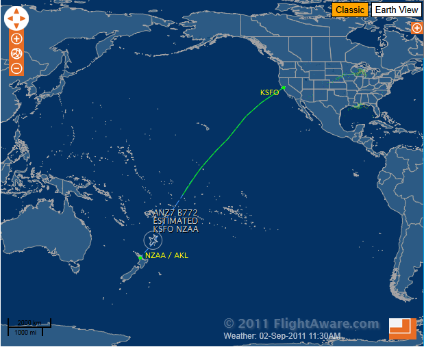 That Is 6 537 Miles From Sfo To Auckland Straight Over The Pacific Flight Time If All Goes Well Should Be 11 Hours 50 Minutes